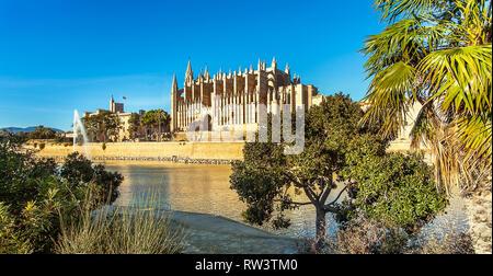 Palma de Mallorca Mallorca Spain 12.22.2018 at the Cathedral La Seu - Stock Photo