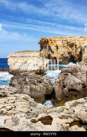 Dwejra Bay with Dwejra Point, a year after the collapse of Azure Window, San Lawrenz Gozo Malta - Stock Photo