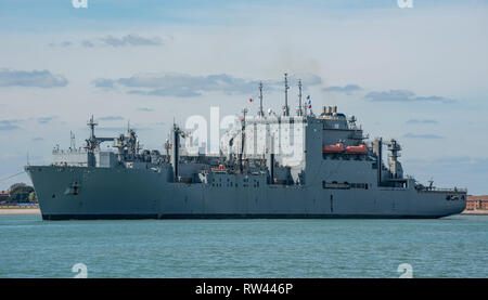 The American built and operated naval supply ship USNS Robert E Peary (T-AKE-5) departing Portsmouth, UK on the 10th April 2017. - Stock Photo