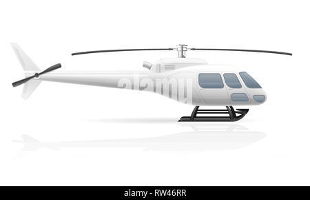 civilian passenger helicopter vector illustration isolated on white background - Stock Photo