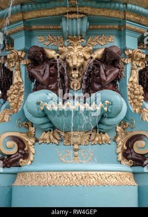 Artistic detail on the famous Ross Fountain landmark in Princes Street gardens in Edinburgh city centre, Scotland - Stock Photo