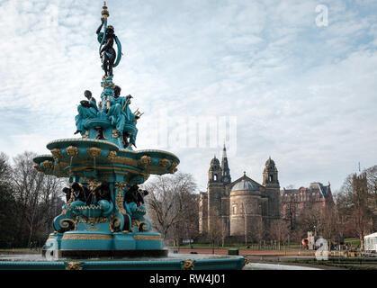 The famous Ross Fountain landmark in Princes Street gardens in Edinburgh city centre, Scotland - Stock Photo