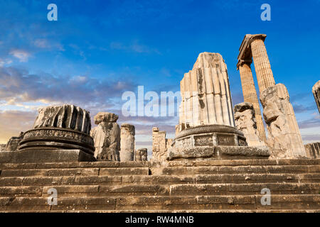 Picture of the steps & columns of the ruins of the Ancient Ionian Greek  Didyma Temple of Apollo & home to the Oracle of Apollo.  Also known as the Di - Stock Photo