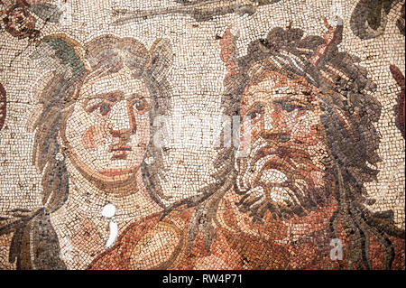 Mosaic of Oceanus and Tethys from Daphne (Harbiye), 4th Cent A.C., Hatay Archaeology Museum, Antioch, Hatay province, Southwest Turkey - Stock Photo