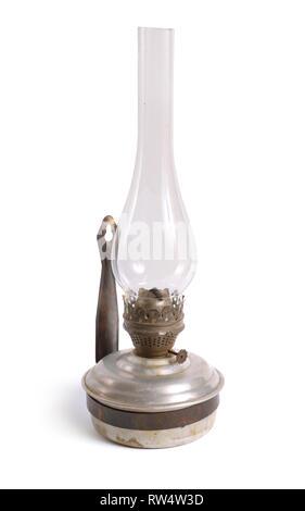 Vintage kerosene lamp Isolated on white background. - Stock Photo