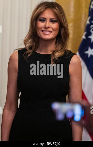 First Lady Melania Trump arrives at a National African American History Month reception in Washington, D.C., U.S., on Thursday, Feb. 21, 2019. - Stock Photo