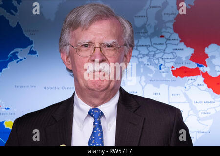 National Security Advisor John Bolton takes questions from reporters at the White House in Washington, DC on January 28, 2019. The White House has announced new economic sanctions against Venezuela. - Stock Photo