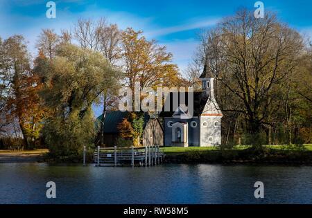 tiny chapel on island Fraueninsel in bavarian mountain lake Chiemsee - Stock Photo