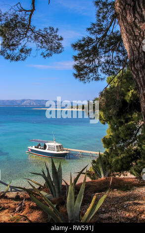 lovely sand beach coastline called golden horn, bol croatia - Stock Photo
