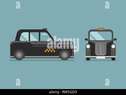 British Taxi car in flat style. Vector illustration - Stock Photo