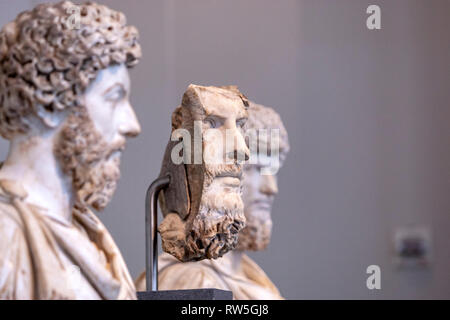 Marble portrait of the co-emperor Lucius Verus, Roman Portraits: Sculptures in Stone, The Metropolitan Museum of Art, Manhattan, New York USA - Stock Photo