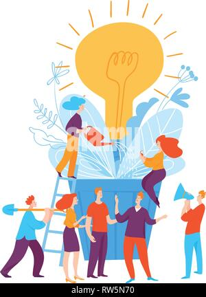 Vector illustration with business people thinking on creative idea - Stock Photo
