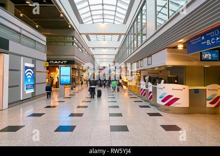 DUSSELDORF, GERMANY - CIRCA OCTOBER, 2018: interior shot of Dusseldorf airport. - Stock Photo