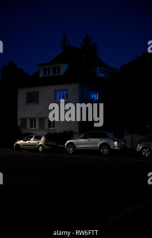 Strasbourg, France - Oct 13, 2018: Luxury house in central Strasbourg with Audi and Renault cars parked in front - Stock Photo