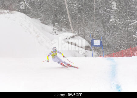 Audi FIS Alpine Ski World Cup - Women's Combined SOLDEU, ANDORRA - FEBRUARY 28: Skier in competes during the Audi FIS Alpine Ski World Cup Women's Sup - Stock Photo