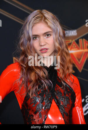 LOS ANGELES, CA. March 04, 2019: Grimes at the world premiere of 'Captain Marvel' at the El Capitan Theatre. Picture: Paul Smith/Featureflash - Stock Photo