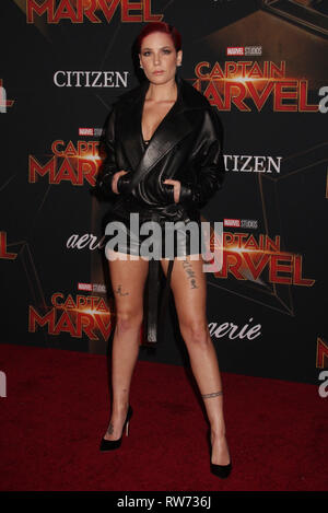 Los Angeles, California, USA. 4th March, 2019. Halsey  03/04/2019 The World Premiere of 'Captain Marvel' held at the El Capitan Theatre in Los Angeles, CA Photo by Izumi Hasegawa / HollywoodNewsWire.co Credit: Hollywood News Wire Inc./Alamy Live News - Stock Photo