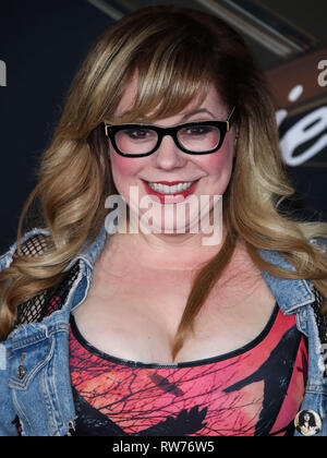 HOLLYWOOD, LOS ANGELES, CA, USA - MARCH 04: Actress Kirsten Vangsness arrives at the World Premiere Of Marvel Studios 'Captain Marvel' held at the El Capitan Theatre on March 4, 2019 in Hollywood, Los Angeles, California, United States. (Photo by Xavier Collin/Image Press Agency) - Stock Photo
