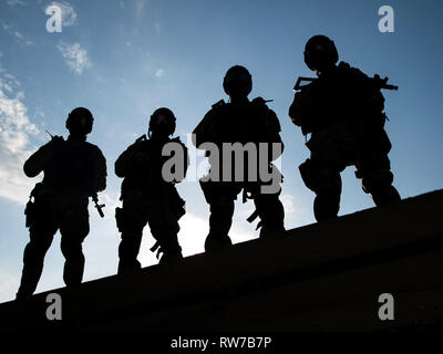Silhouettes of S.W.A.T. officers holding their guns. - Stock Photo