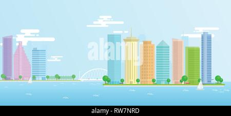 Landscape of urban, city, seaport with large modern buildings. Vector illustration flat design made on a long strip suitable for web, printing. - Stock Photo