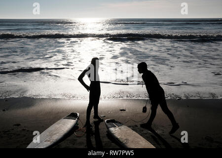 Surfing at Compton Bay, Isle of Wight, England, UK. - Stock Photo