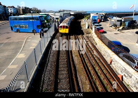 An Island Line Class 483 Multiple Unit Train leaving Ryde Esplanade Station toward Ryde St.John's Road, destination Shanklin, Isle of Wight, UK. - Stock Photo
