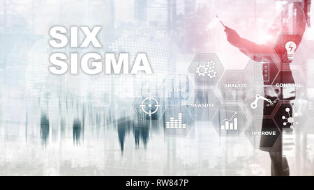 Six Sigma, manufacturing, quality control and industrial process improving concept. Business, internet and tehcnology. - Stock Photo