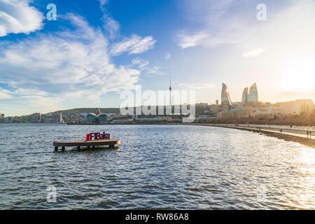 Azerbaijan, Baku, March 01 2019. Formula 1 billboard in Baku bay - Stock Photo