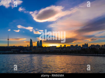 View of the National Seaside Park in Baku city, Azerbaijan at sunset time - Stock Photo