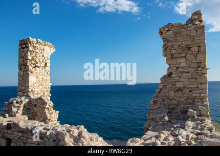 ruins of castle in Pythagorion city - Stock Photo