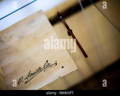 Dostoevsky's signature in the writer's house-museum of Moscow - Stock Photo