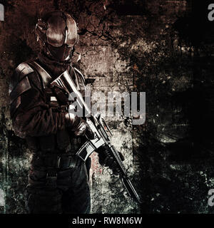 Hand drawn image of a spec ops police officer SWAT. - Stock Photo