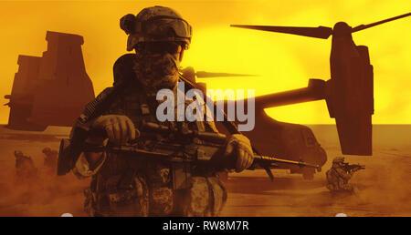 United States paratrooper airborne infantry in the desert. - Stock Photo