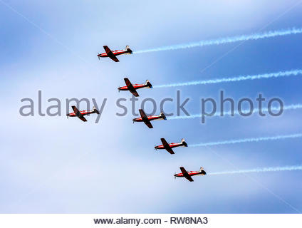 Pilatus PC-9 aircraft in formation perform at Temora Warbirds Downunder Air Show for the last time before being replaced by the Pilatus PC-21 - Stock Photo