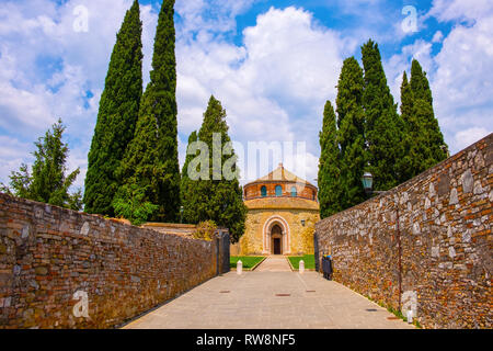 Perugia, Umbria / Italy - 2018/05/28: V century Early Christianity St. Michel Archangel Church - Chiesa di San Michele Arcangelo in Perugia historic q - Stock Photo