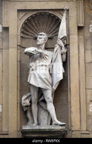 Statue of Michele Di Lando, leader of the Revolt of the Ciompi, Loggia del Mercato in Florence, Italy - Stock Photo
