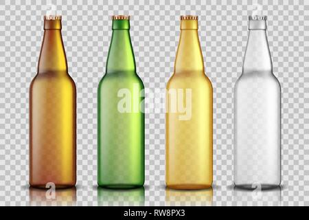 Set of Realistic glass beer bottles isolated on transparent background. blank beer bottle Mock up template for product package. Vector illustration. - Stock Photo