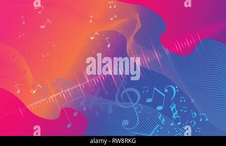 Rainbow fluid background. Iridescent modern design. Music multicolor poster. Rainbow stripe Wave liquid pattern. Organic gradient shape. Summer vivid - Stock Photo