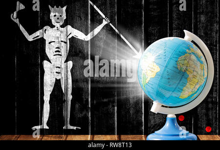 Globe with a world map on a wooden background with the image of the flag of Blackbeard Pirate. The concept of travel and leisure abroad. - Stock Photo
