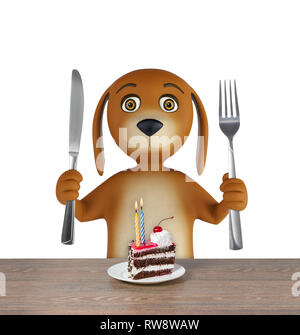 Hungry cartoon dog with cake holds a knife and fork. isolated on white background. 3d rendering - Stock Photo