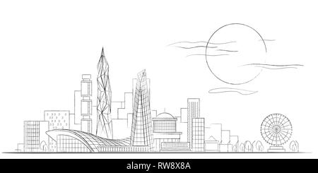 Vector Linear Sketch of Modern Cityscape Black and White Background