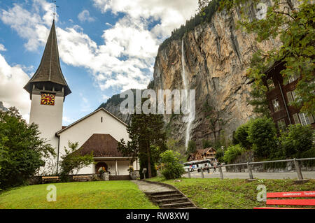 Lauterbrunnen, Staubbach waterfall, Switzerland - Stock Photo