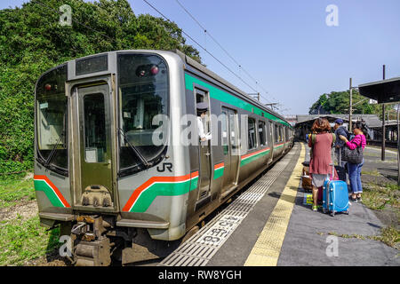 Akita, Japan - Sep 27, 2017. A local train at railway station in Akita, Japan. Most Japanese people often use trains to move from one province to anot - Stock Photo