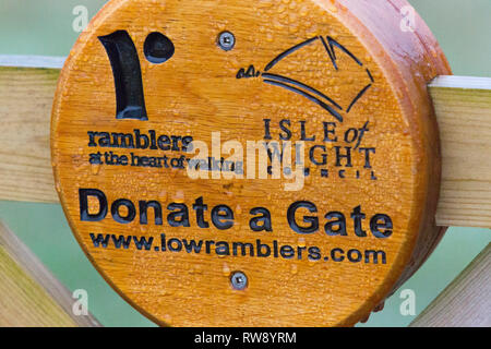 donate, a ,gate, campaign, Ramblers, Association, wooden, sign, Isle of Wight, England, UK, - Stock Photo