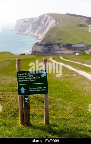 Walkers, Ramblers, coastal,path, Tennyson,Down,Freshwater,Bay, Isle of Wight, England, UK, - Stock Photo