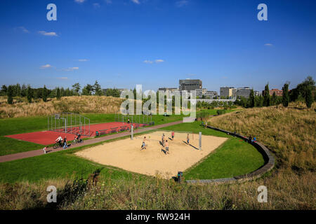 Essen, North Rhine-Westphalia, Ruhr area, Germany, Krupp-Park, urban development project Krupp-Guertel in the western quarter of Essen, here a beach v - Stock Photo