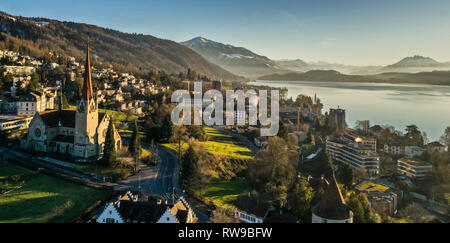 Aerial view of Zug, Switzerland - Stock Photo