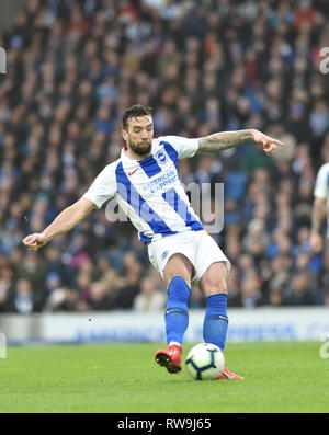 Shane Duffy of Brighton during the Premier League match between Brighton & Hove Albion and Huddersfield Town at the American Express Community Stadium . 02 March 2019 Editorial use only. No merchandising. For Football images FA and Premier League restrictions apply inc. no internet/mobile usage without FAPL license - for details contact Football Dataco - Stock Photo