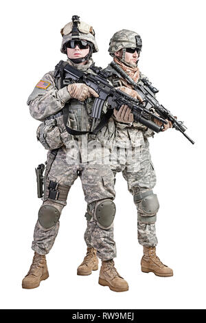 United States paratroopers airborne infantry, studio shot. - Stock Photo