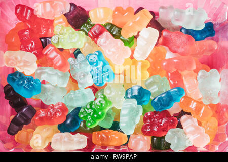 A close-up of three rows of brightly-colored gummy bears, photographed on a pink background with poppy studio light. - Stock Photo